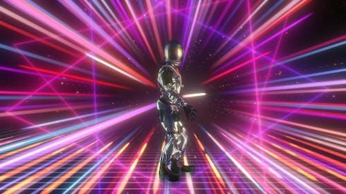Astronauten-Tanzdisco auf retro-futuristischem 80er Hintergrund