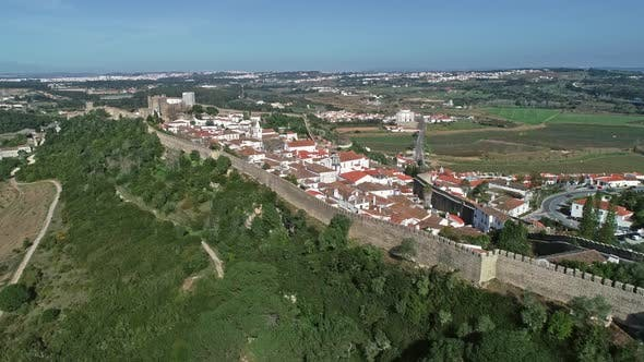 Aerial View of Medieval Town Obidos Portugal