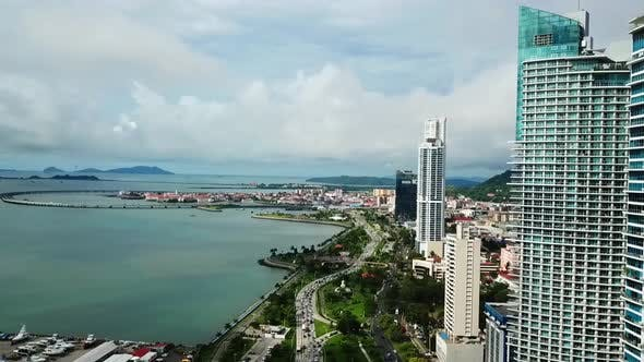Thumbnail for Cityscape of Panama Aerial Wide Shot with Beautiful View on the Sea