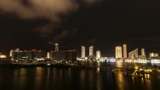 Thumbnail for Miami Skyline at Night with Clouds 03