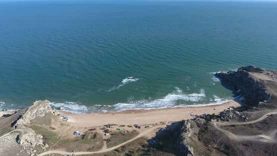 Thumbnail for Aerial View on Beautiful Sea Rocky Coast with Cliffs in Crimea. Black Sea. Beautiful Aerial Drone