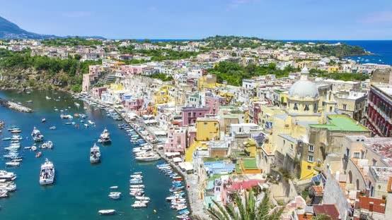 Procida island near Naples timelapse, Italy.