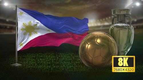8K Philippines Flag with Football And Cup Background Loop
