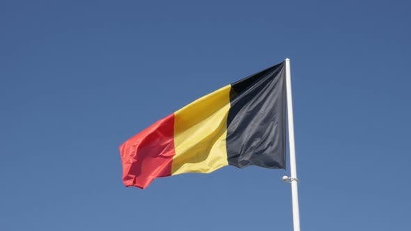 Thumbnail for Famous  state symbol fabric of Belgium on flagpole slow-mo 1920X1080 HD footage - Slow motion of Bel