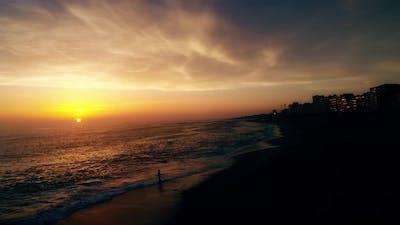 Boyfriends on the Beach at Amazing Sunset