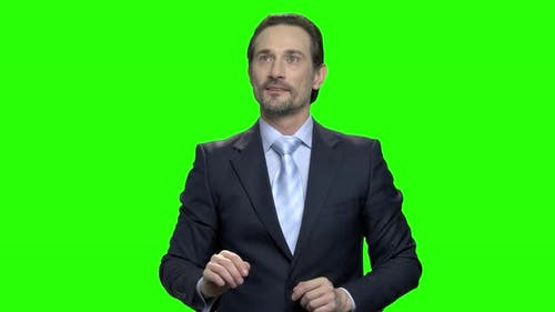 Business Man Using Futuristic Touchscreen Display