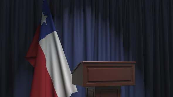 Flag of Chile and Speaker Podium Tribune
