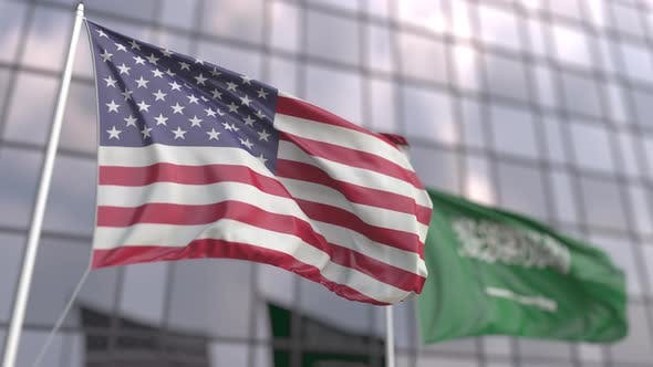 Waving Flags of the USA and Saudi Arabia
