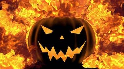Evil Pumpkin With Fire