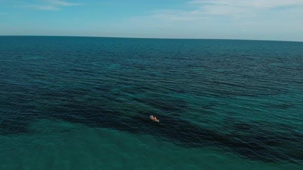 Aerial Drone Shot of Friends Kayak in Ocean