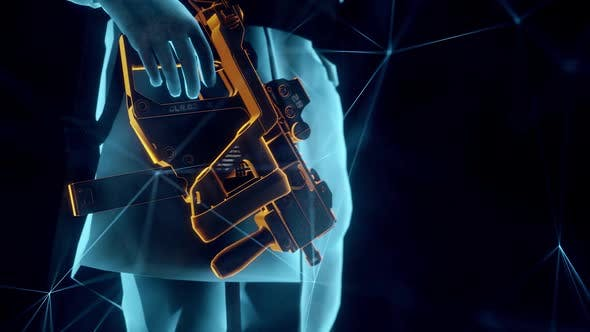 Futuristic Technology Soldier Hologram With Gun In Hand Hd