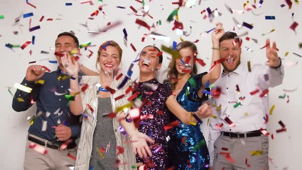 Thumbnail for Happy Friends at Party Under Confetti Over White