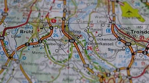 Roads On Map Earth North Rhine Westphalia.