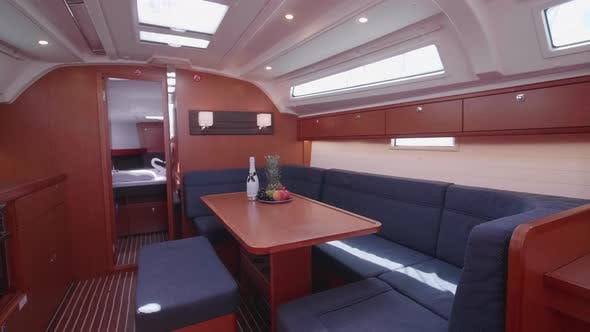 Thumbnail for Interior dining room on a sailboat boat.