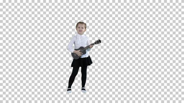 Thumbnail for Pretty emotional young girl singing with ukulele, Alpha Channel
