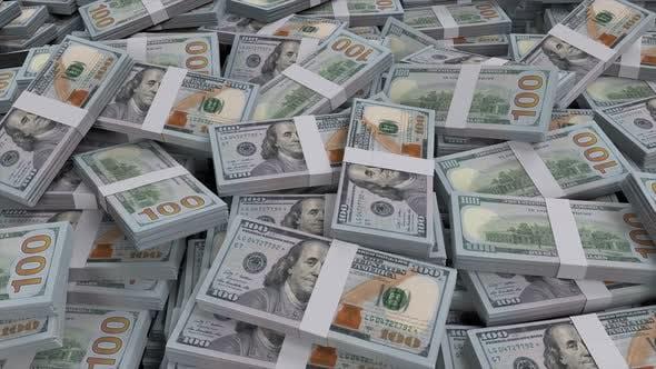 Thumbnail for 100 Dollar Banknotenbündel verstreut
