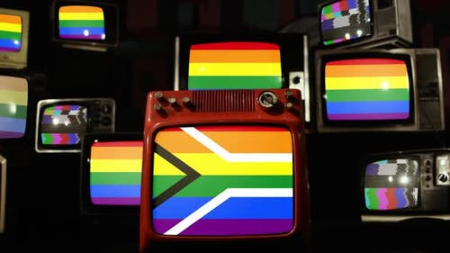 Gay pride flag of South Africa on Retro TVs.