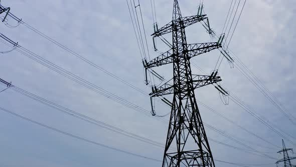High electric towers with wires