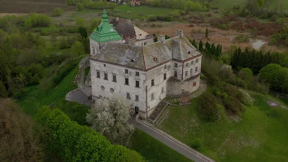 Thumbnail for Aerial View of Olesky Castle and the Surrounding Landscape in Spring, Ukraine