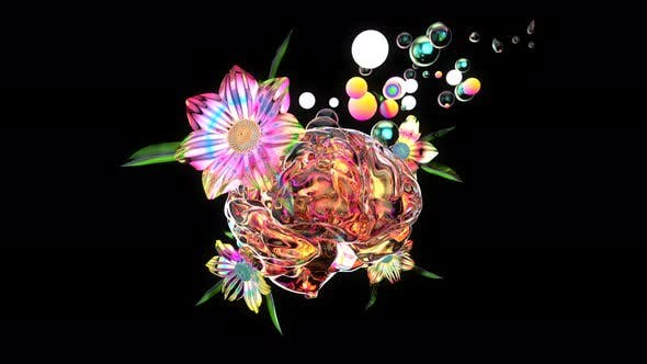 4K abstract art of a brain with flowers and bubbles