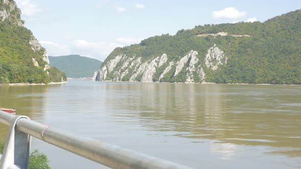 Thumbnail for Famous Kazan gorge entrance on river Danube 4K 2160p UHD footage - National park Djerdap on Danube r