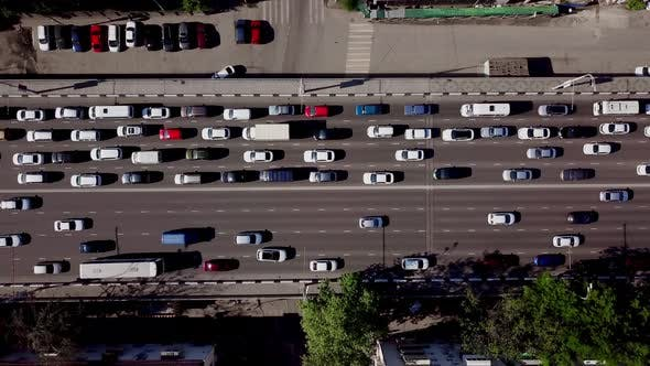 Thumbnail for Drone's Eye View - View From Above of Urban Traffic Jam