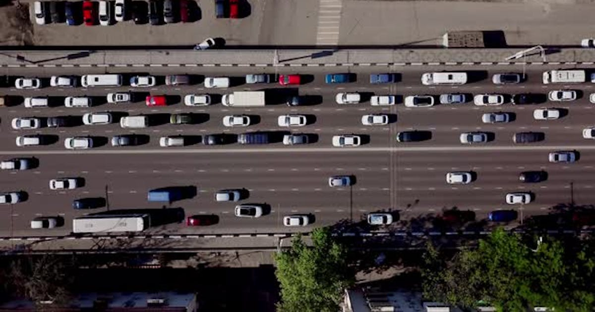 Drone's Eye View - View From Above of Urban Traffic Jam by shokis on