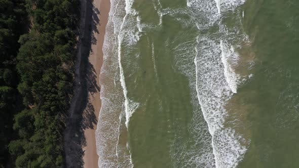 Thumbnail for Drone footage of waves crashing against Baltic sea beach