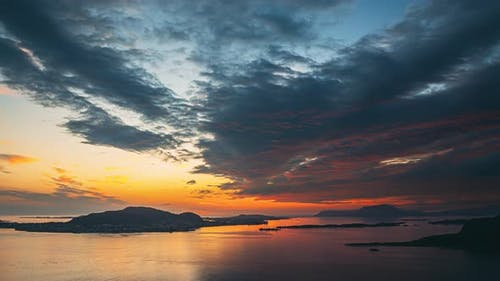 Alesund, Norway Amazing Natural Bright Dramatic Sky In Warm Colours