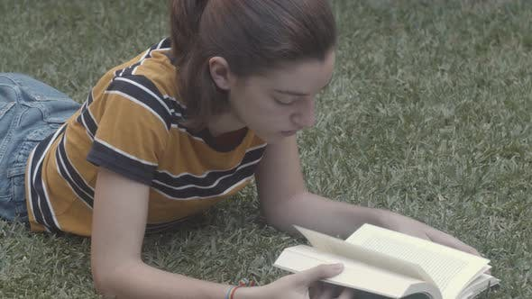 Thumbnail for Young girl reading a book in nature about grass.