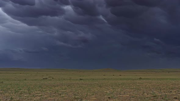 Thumbnail for Mammatus Clouds Over Steppe Timelapse