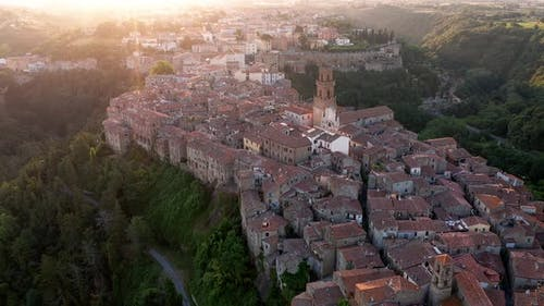 An aerial view showing architecture of Pitigliano