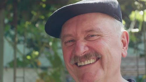Man With Mustache Laughing