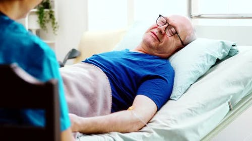 Cannula Nursing Home Hospital Bed Elderly Man Sick