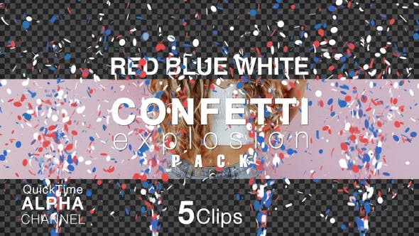 Red Blue And White Color Confetti Pack