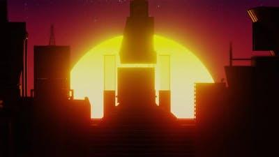 Sunrise and Sunset Retro Futurim Concept
