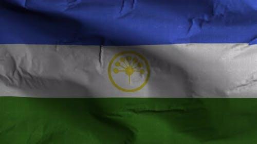 Bashkortostan Flag Textured Waving Background 4K
