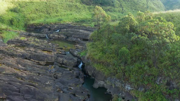 Thumbnail for Aerial View of Tea Plantations, Fields, Waterfall During Sunrise. Sri Lanka Island