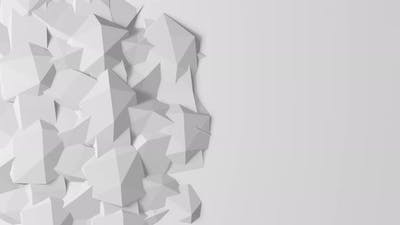 Abstract movement of geometric shapes on white background.