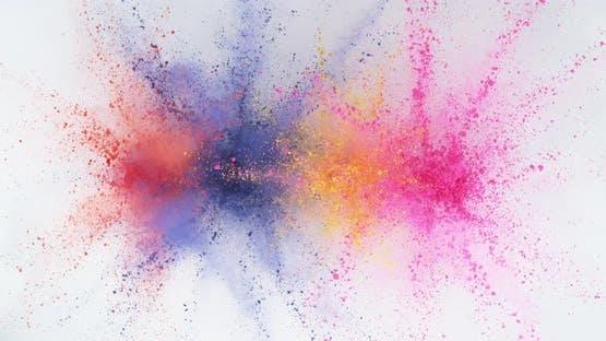 Colorful powder exploding in super slow motion.  Shot on Phantom Flex 4K high speed camera.
