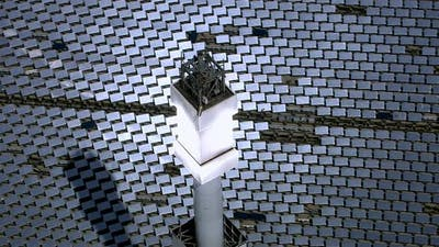 Aerial shot of solar mirrors at power plant, California