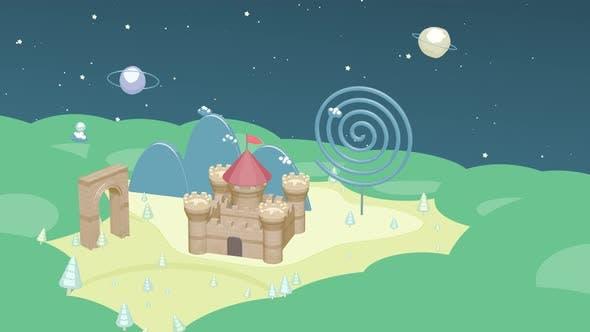 Cartoon castle in the wild, cartoon style.