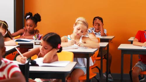 School kids doing their homework