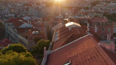 Aerial View of Beautiful Sunset in Lisbon City Center