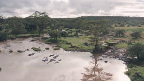 Aerial drone view of Kenyan river landscape in Laikipia, Kenya
