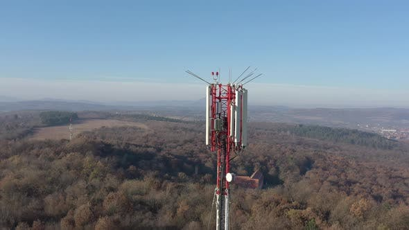 Thumbnail for Antenna repeater and clear blue sky 4K aerial footage