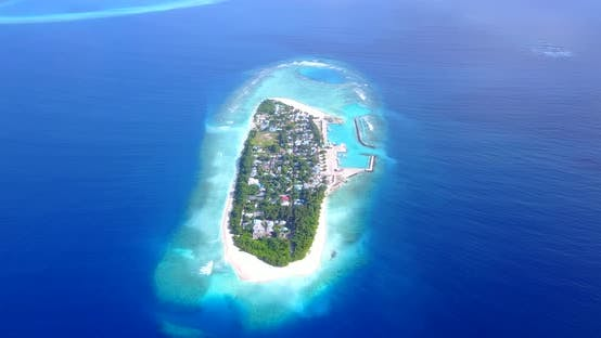 Thumbnail for Wide flying abstract view of a white paradise beach and blue sea background