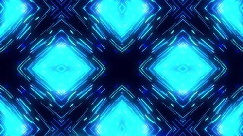 Kaleidoscopic animated glowing neon rhombus background