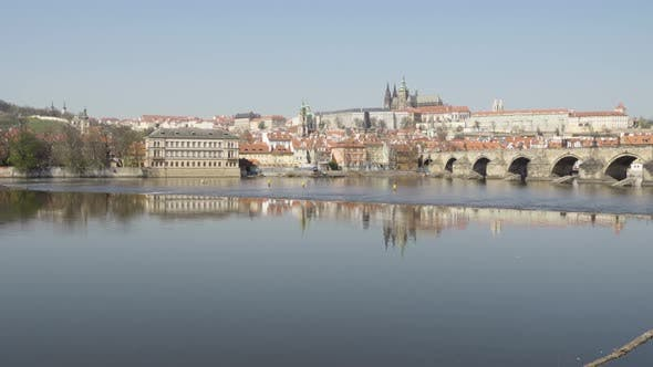 Thumbnail for Empty Charles Bridge in Prague, Czech Republic Without People During the Coronavirus Pandemic
