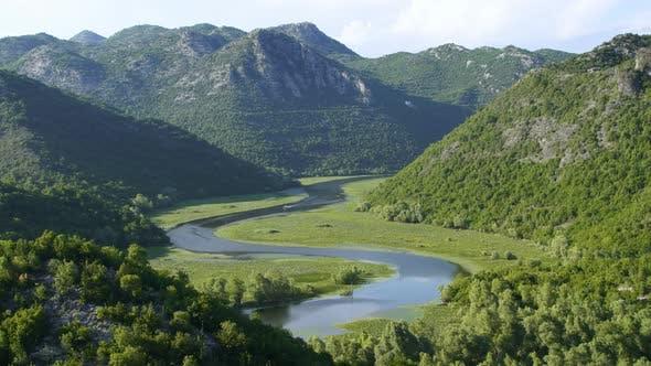 Skadar Lake River Curved on Valley, Virpazar National Park, Montenegro